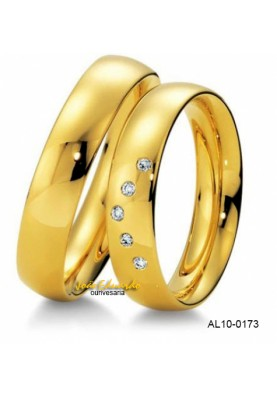 Aliança Meia Cana com Diamantes AL10-0228