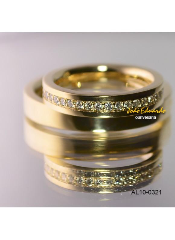Alianças 3 mm e 45 Diamantes AL10-0321