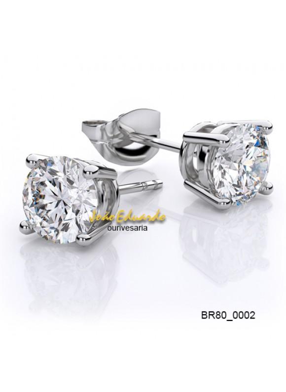 Par de Brincos Solitário 50 Pontos Cada Diamante.